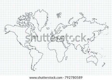 White outline world map vector download free vector art stock vector illustration world map with country borders thin black outline on white background best popular world gumiabroncs Images