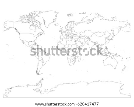 Line world map download free vector art stock graphics images world map with country borders thin black outline on white background simple high detail gumiabroncs Images