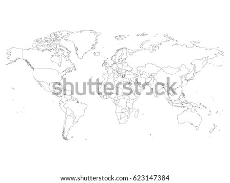 World Map With Country Borders, Thin Black Outline On White Background.  Simple High Detail