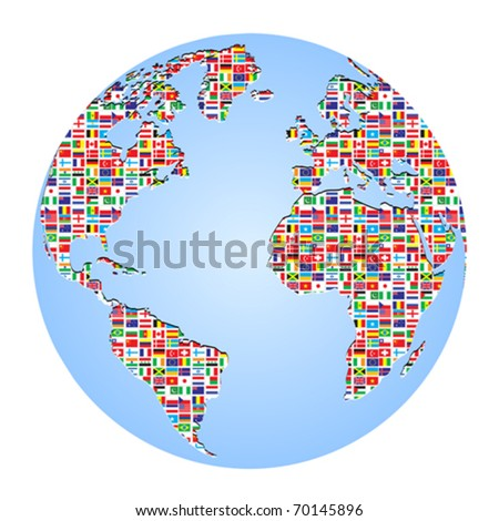 world map with country flags on it