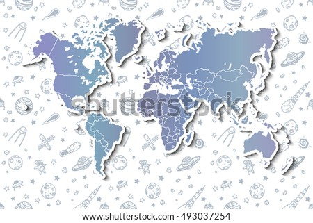 World map with different space doodles. Hand drawn vector. #493037254