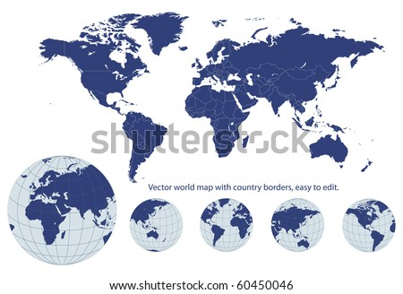 World map with earth globes, editable vector.