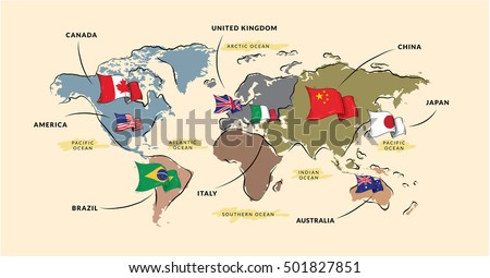 Brazil Map And Flags Download Free Vector Art Stock Graphics - Japan map sketch
