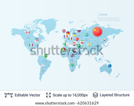 Free vector world map with pins download free vector art stock world map with flags country symbols and borders on the map vector pointer template gumiabroncs Image collections