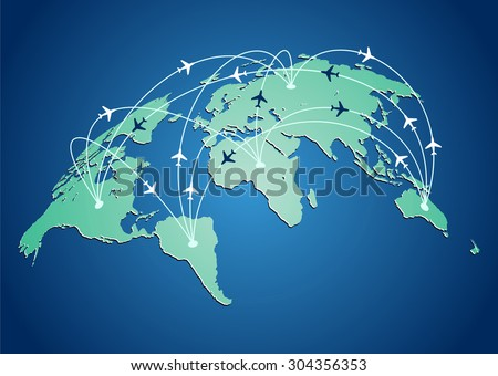 World map with flight routes airplanes in vector