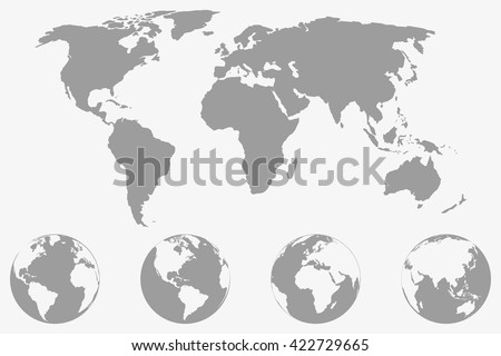 Free earth globe vector flat icons download free vector art world map with four globe icons from different sides stylized geometric flat vector gumiabroncs Choice Image