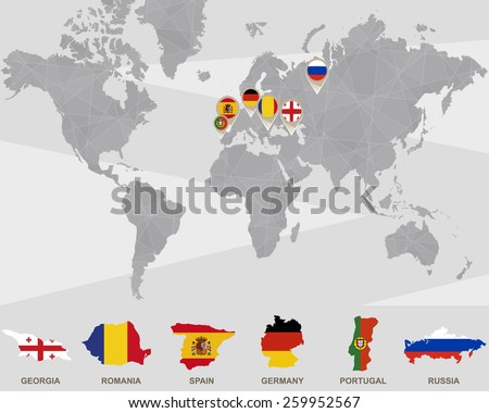 Royalty free world map with ukraine russia france 391182808 world map with georgia romania spain germany portugal russia pointers publicscrutiny Gallery