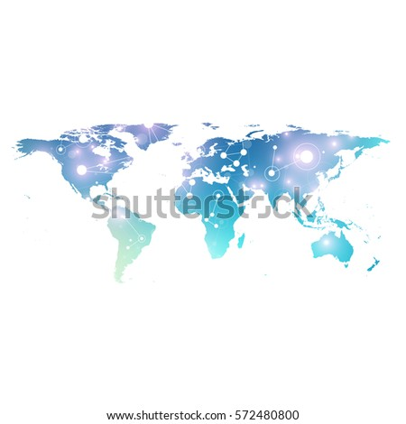 World map with global technology networking concept. Digital data visualization. Lines plexus. Big Data background communication. Scientific vector illustration