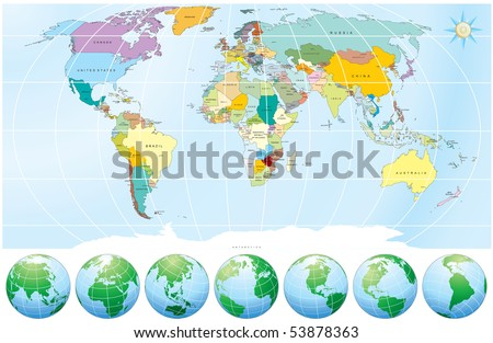 World Map with Globes - detailed editable vector, include all Names of Countries and Capitals - outline national  border lines - individual drawn objects, simply colors - MORE AT MY GALLERY - stock vector