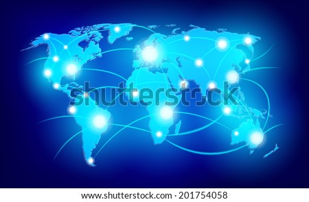 world map with glowing points