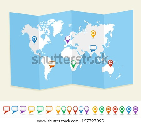 Free vector world map with pins download free vector art stock world map with gps location pins and social media speech bubbles travel earth eps10 vector sciox Choice Image