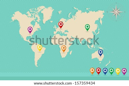 globe world map concept world map with gps location pins and travel elements template eps10 vector file organized in