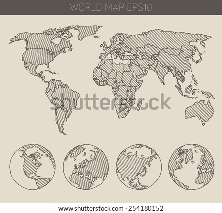 Sketch world map vectors download free vector art stock graphics world map with hemispheres contour vector illustration hand drawn sketch gumiabroncs Image collections