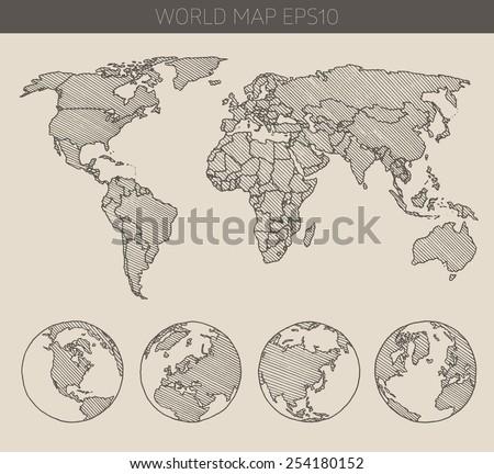 Sketch World Map Vectors - Download Free Vector Art, Stock Graphics ...