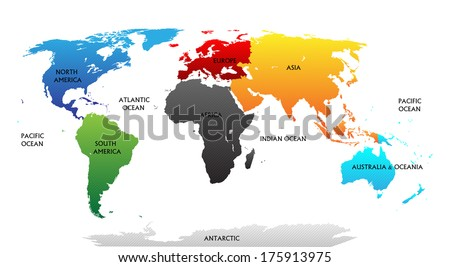 World map with highlighted continents in different colors. All labels are in the separate layer.