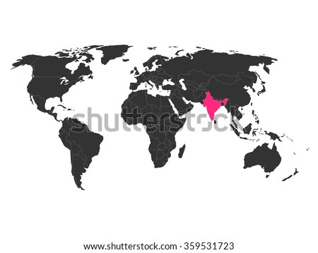 world map with highlighted india
