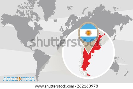 Free vector map of argentina free vector art at vecteezy world map with magnified argentina argentina flag and map sciox Gallery