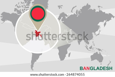 Free bangladesh mapa ilustracin descargue grficos y vectores gratis world map with magnified bangladesh bangladesh flag and map gumiabroncs Gallery