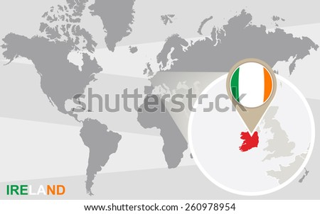 Free ireland map vector download free vector art stock graphics world map with magnified ireland ireland flag and map gumiabroncs Gallery