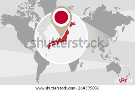 world map with magnified japan