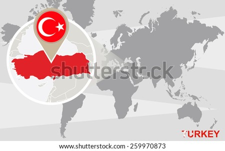 world map with magnified turkey