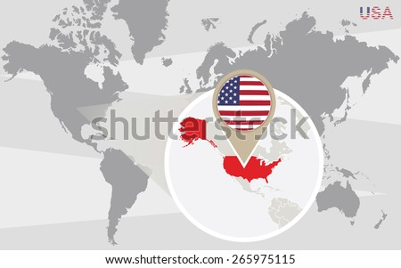 world map with magnified usa