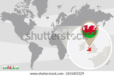 world map with magnified wales