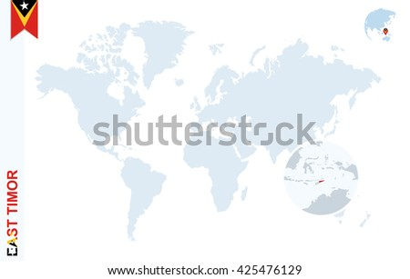 World map with magnifying on East Timor. Blue earth globe with East Timor flag pin. Zoom on map. Vector Illustration