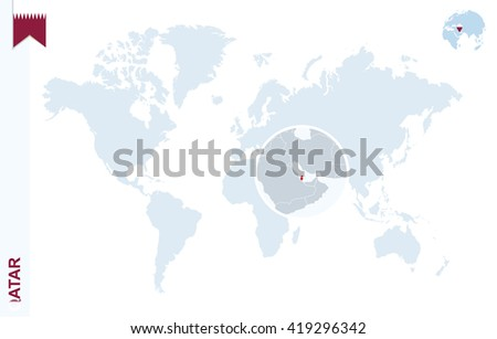 Qatar map and flags download free vector art stock graphics images world map with magnifying on qatar blue earth globe with qatar flag pin zoom gumiabroncs Image collections