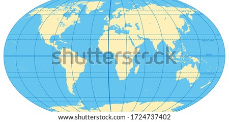 World map with most important circles of latitudes and longitudes, showing Equator, Greenwich meridian, Arctic and Antarctic Circle, Tropic of Cancer and Capricorn. English. Illustration. Vector. Foto d'archivio ©