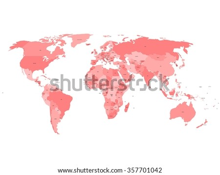 World map with names of sovereign countries and larger dependent territories. Simplified vector map in four shades of red on white background. #357701042