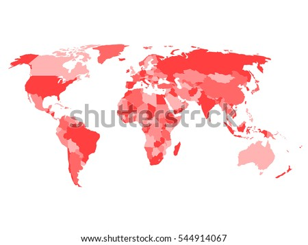 World map with names of sovereign countries and larger dependent territories. Simplified vector map in four shades of red on white background. #544914067