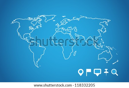 World map with navigation pointers set. Vector image.