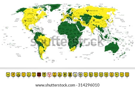 World map with Nuclear Power countries location on it and nuclear technology 3D square pin pointers.