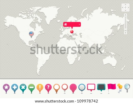 World Map with Pins  --- EPS 10 - Contain Transparency --- - stock vector