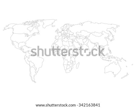 Country border download free vector art stock graphics images world map with smoothed country borders thin black outline on white background gumiabroncs Gallery