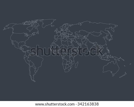 World map with smoothed country borders. Thin white outline on dark grey background.