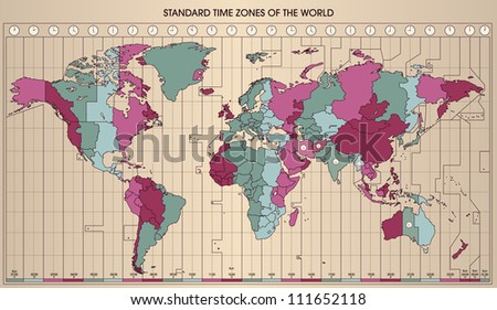 World Map with Standard Time Zones. Cartography Collection. Vector Illustration. - stock vector
