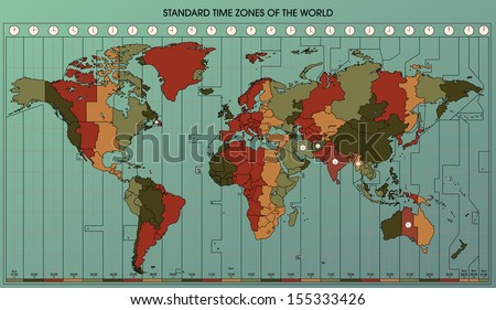 Time zone map vector download free vector art stock graphics world map with standard time zones cartography collection vector illustration easy to edit gumiabroncs Image collections