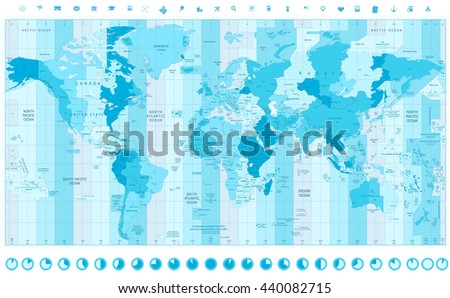 Time zone clock download free vector art stock graphics images world map with standard time zones soft tints of blue with clock icons gumiabroncs Choice Image