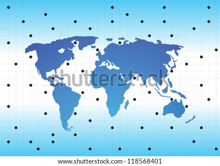 World map with textured countries. Vector illustration - stock vector