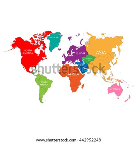 World map with the names of the continents. Vector illustration. #442952248
