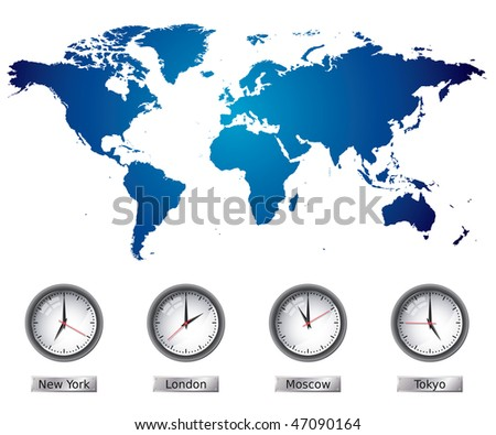 World Map With Time Zones Stock Vector Illustration