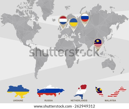 Free vector netherlands flag map pointer download free vector world map with ukraine russia netherlands malaysia pointers plane crash vector gumiabroncs Choice Image