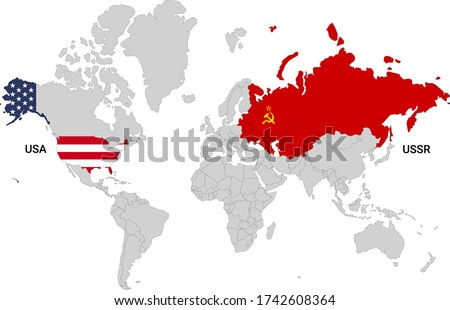 world map with usa and ussr and