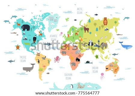 world map with wild animals...