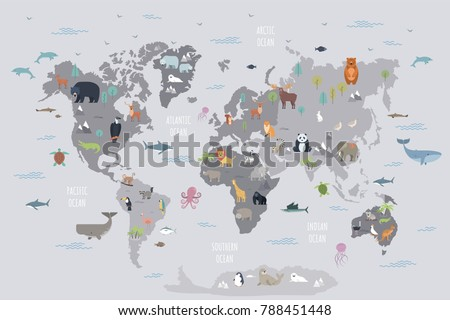 world map with wild animals...