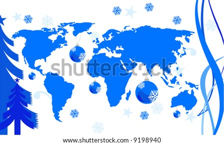 Global christmas design download free vector art stock graphics world map with winter conceptp from httplib gumiabroncs Images