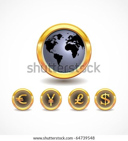 world map with world currency icons