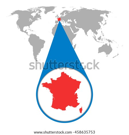 World map with zoom on France. Map in loupe. Vector illustration in flat style